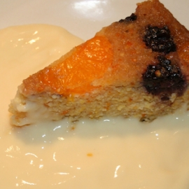 Orange and Blackberry Almond Pudding